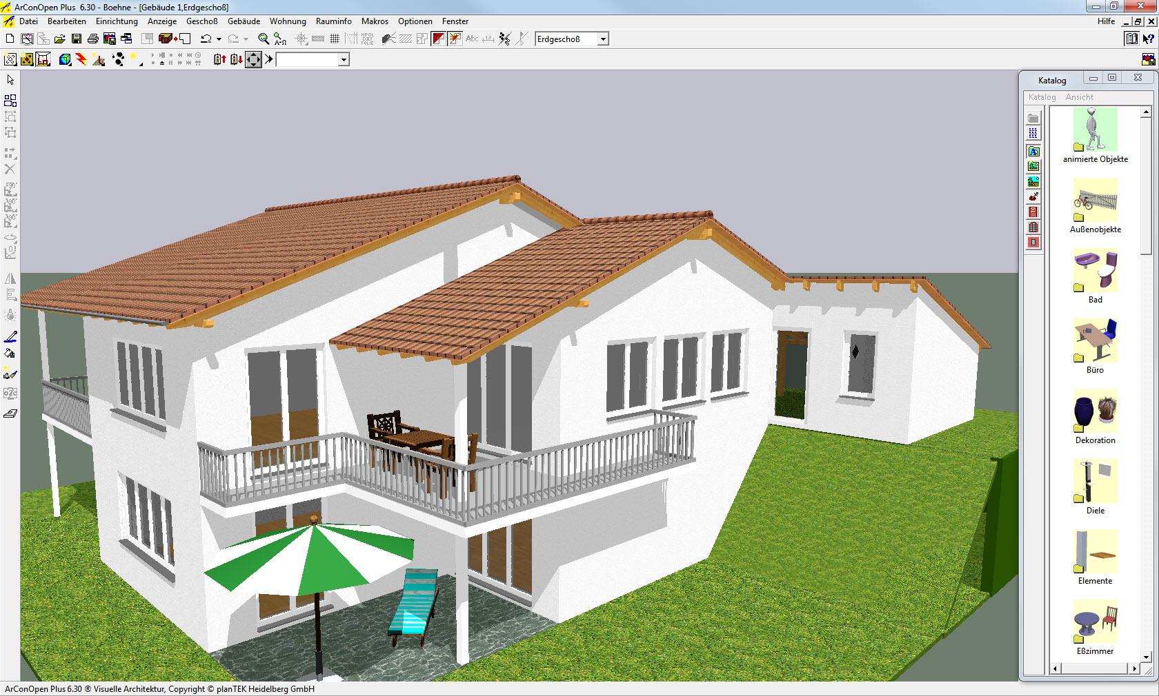 Designmodus mit der Ansicht des Gebäudes in 3D