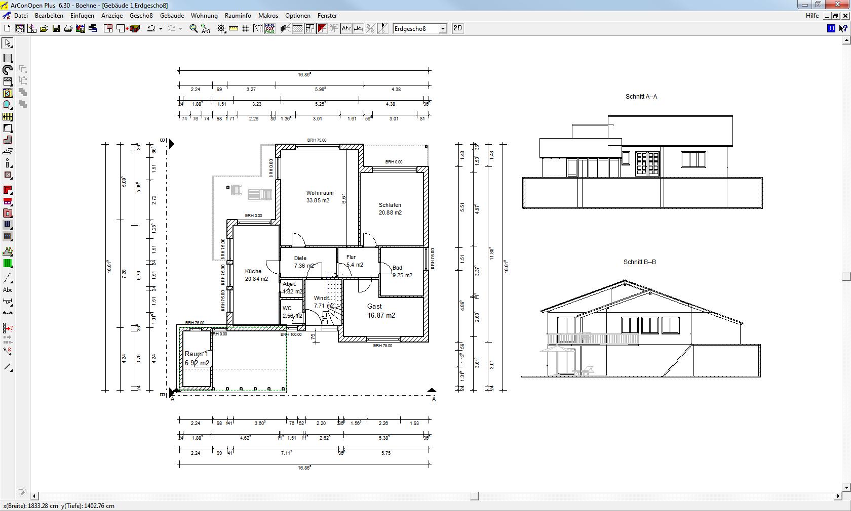 Darstellung von Schnittfensters als Rechteck in der Planung