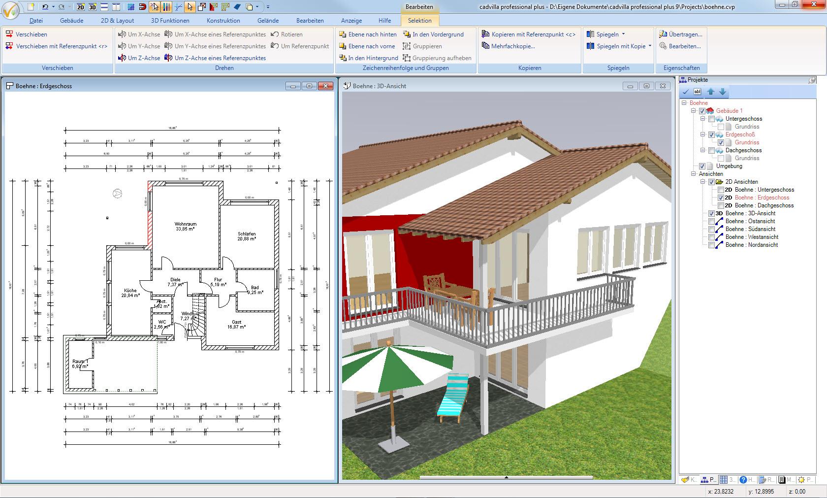 Zwei Sichten auf das Projekt (Draufsicht, 3D Ansicht). Sämtliche Eingaben und Selektionen von Elementen werden in allen Ansichten in Echtzeit dargestellt.