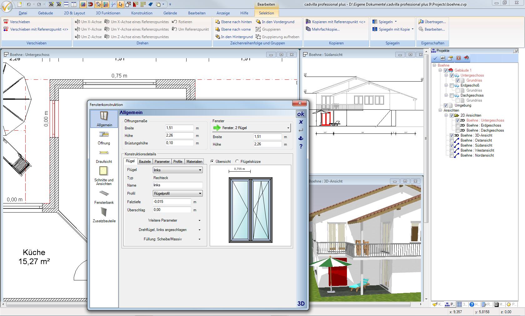 Bearbeiten eines selektierten Fensters im Fensterdialog. Das selektierte Element wird zur Kontrolle gleichzeitig in allen Ansichten rot dargestellt.