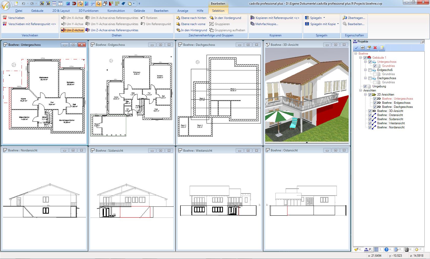Bearbeiten eines Projekts mit Hilfe mehrerer Sichten auf das Projekt (Draufsichten auf einzelne Geschosse, Seitenansichten, 3D Ansicht). Ein Element kann in jeder beliebigen Ansicht eingegeben und weiter bearbeitet werden. Das (selektierte) Element wird dabei immer in Echtzeit in jeder geöffneten Ansicht dargestellt.