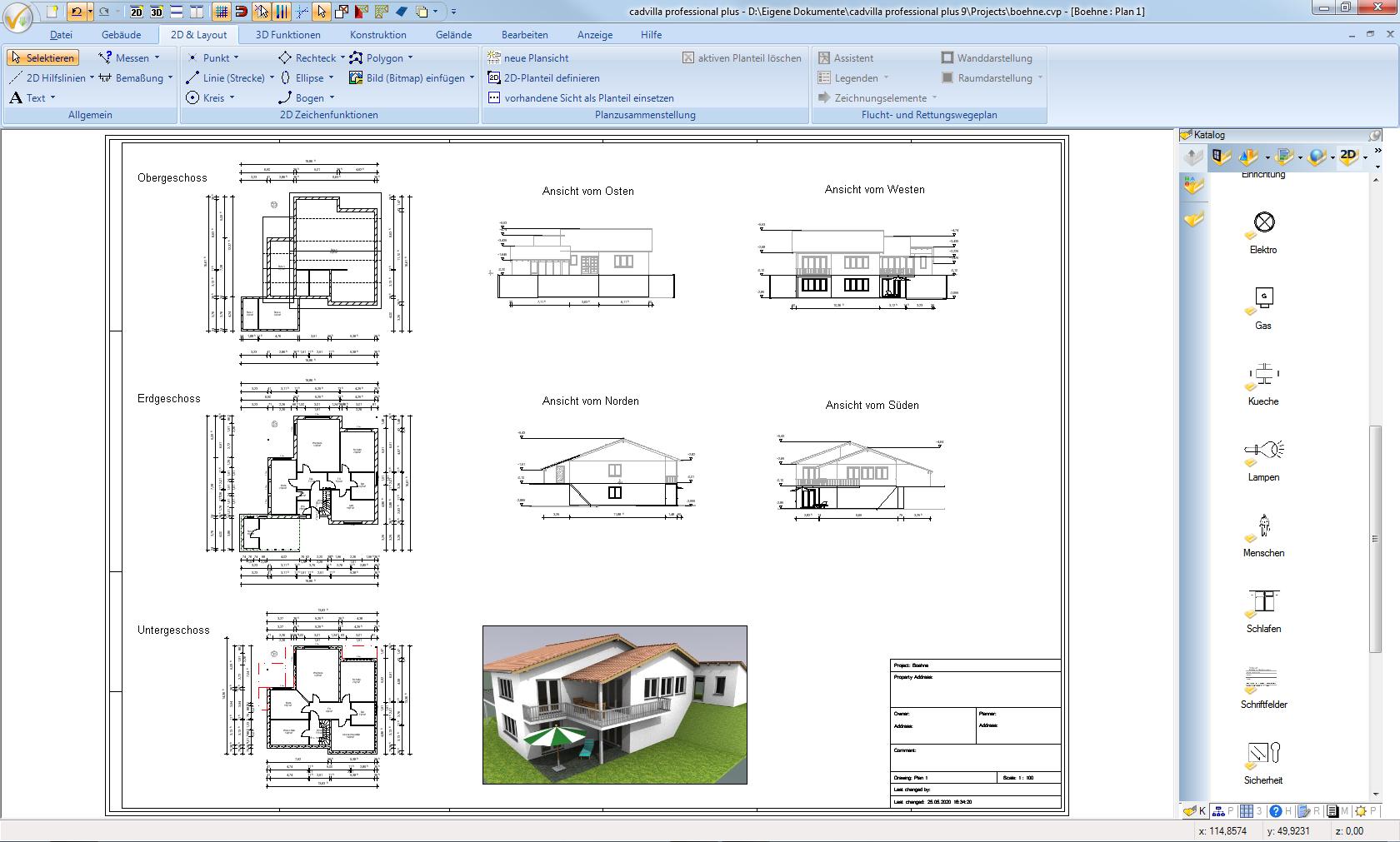 Planzusammenstellung für das Musterhaus. Alle Geschosse, Seitenansichten, Schnitte und 3D Ansichten können damit auf einem Gesamtplan positioniert werden. Das Modul für die Planzusammenstellung ist in den Versionen ab cadvilla professional mit enthalten.