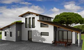 Beispiel aus cadvilla - Haus mit Satteldach und Pultdach